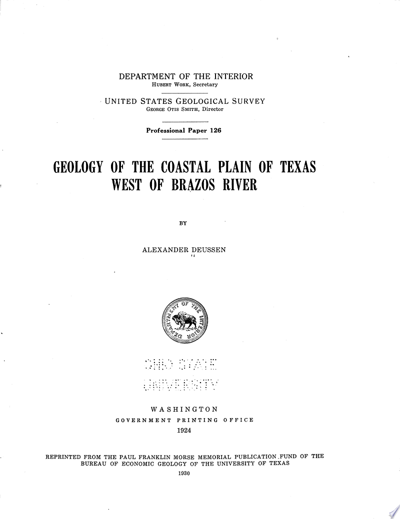 Geology of the Coastal Plain of Texas West of Brazos River banner backdrop