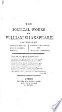 The Poetical Works of Shakespeare  With the Life of the Author     Embellished with Superb Engravings  including a Portrait