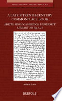 A Late Fifteenth-century Commonplace Book