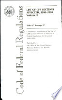 Code Of Federal Regulations Titles 17 Through 27