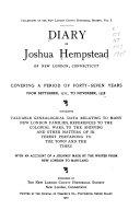Diary of Joshua Hempstead of New London  Connecticut