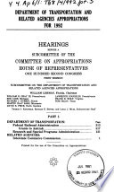 Department of Transportation and Related Agencies Appropriations for 1992