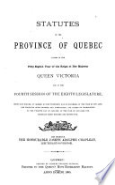 Statuts de la province de Québec ...