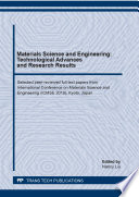 Materials Science and Engineering  Technological Advances and Research Results