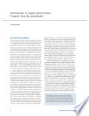 Determinants Of Supplier Plant Location Evidence From The Auto Industry