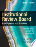 Institutional Review Board Management And Function