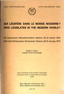 Qui légifère dans le monde moderne?