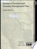 Record of Decision and Resource Management Plan  Eugene District Book