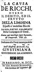 La Cavsa De Ricchi, Overo Il Debito, Ed Il Frvtto Della Limosina