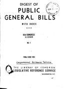 Digest of Public General Bills with Index Book PDF