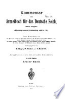 Kommentar Zum Arzneibuch Für Das Deutsche Reich, Pharmacopoea Germanica, Ed. III.