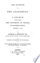 The Doctrine of the Atonement  A Sermon  on 1 Cor  Xi  26   Book