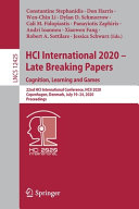 HCI International 2020     Late Breaking Papers  Cognition  Learning and Games