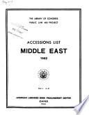 Accessions List, Middle East, 1962