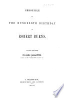 Chronicle of the Hundredth Birthday of Robert Burns