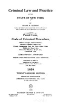 Criminal Law and Practice of the State of New York