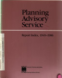Planning Advisory Service Report Index Book