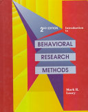 Introduction To Behavioral Research Methods Book PDF