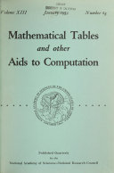 Mathematical Tables and Other Aids to Computation