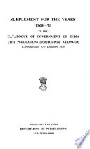 Catalogue of Civil Publications Relating to Agriculture, Forestry, Civic, Commerce, Finance, Legislation, Industry, Public Health, Railways, Science, Trade, Etc
