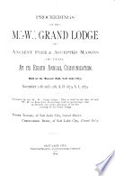 Proceedings of the M.W. Grand Lodge of Ancient Free and Accepted Masons of Utah