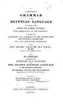 A Compendious Grammar of the Egyptian Language as Contained in the Coptic and Sahidic Dialects