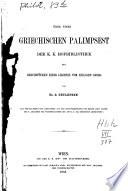 Über einen griechischen Palimpsest der k. k. Hofbibliothek mit Bruchstücken einer Legende vom heil. Georg