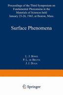 Surface phenomena: proceedings...