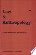 Law And Anthropology International Yearbook For Legal Anthropology