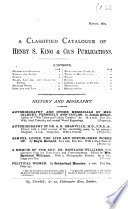 A Classified Catalogue Of Henry S King Co S Publications