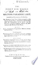 The First Six Books of Milton s Paradise Lost