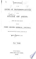 Journal Of The House Of Representatives General Assembly Of Ohio