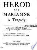 Herod And Marianne A Tragedy