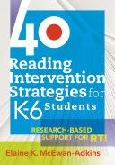 40 Reading Intervention Strategies for K6 Students Pdf/ePub eBook