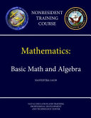 Navy Mathematics Basic Math And Algebra Navedtra 14139 Nonresident Training Course