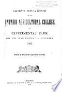 Annual Report Of The Ontario School Of Agriculture And Experimental Farm