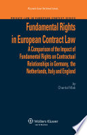 Fundamental Rights In European Contract Law