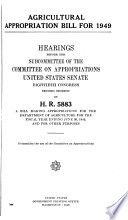 Agricultural Appropriation Bill for 1949