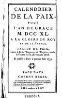 Calendrier de la paix, pour l'an de grace 1740 a la gloire du roy et de la France