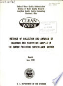 Methods of Collection and Analysis of Plankton and Periphyton Samples in the Water Pollution Surveillance System Book