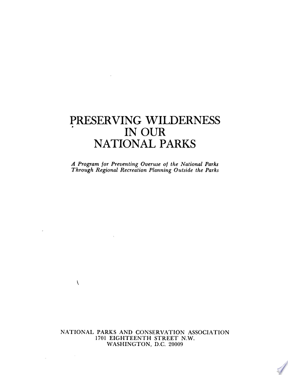 Preserving Wilderness in Our National Parks