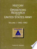 History Of Operations Research In The United States Army V I 1942 62