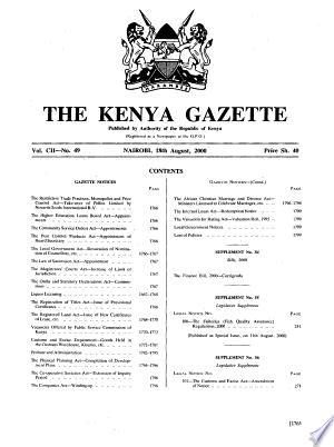 Download Kenya Gazette Free Books - eBookss.Pro