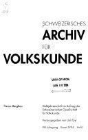 Schweizerisches Archiv für Volkskunde