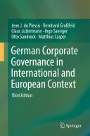 Pdf German Corporate Governance in International and European Context