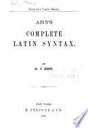 ... Ahn's Complete Latin Syntax