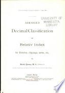 Abridged Decimal Classification And Relativ Index Book PDF