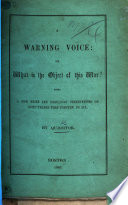 A Warning Voice Or What Is The Object Of This War By Qu Sitor