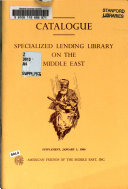 Catalogue  Specialized Lending Library on the Middle East