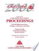 Laser Materials Processing Icaleo 2000 Proceedings Book PDF
